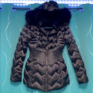 Laundry puffer coat with faux fur trim